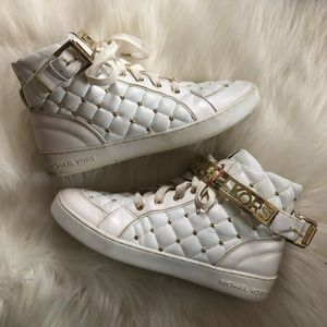 Michael Kors MK White Quilted Buckle Sneaker Shoes
